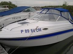 синий тент на лодку